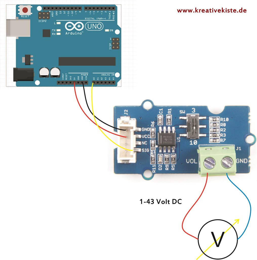 2 seeed grove voltage divider toturial arduino